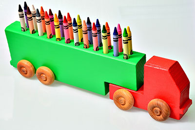 wooden crayon truck made in Woodshop Image